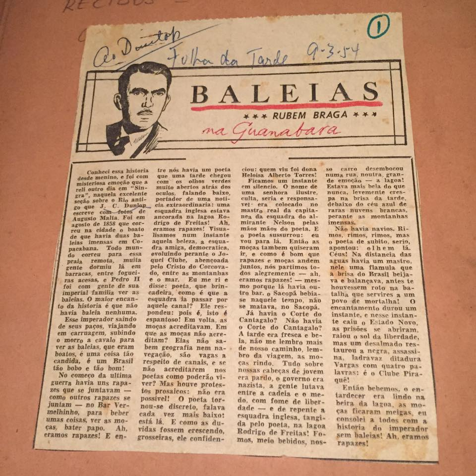 Crônica de Rubem Braga com menção a CJ Dunlop. Reprodução dos arquivos da família Dunlop.